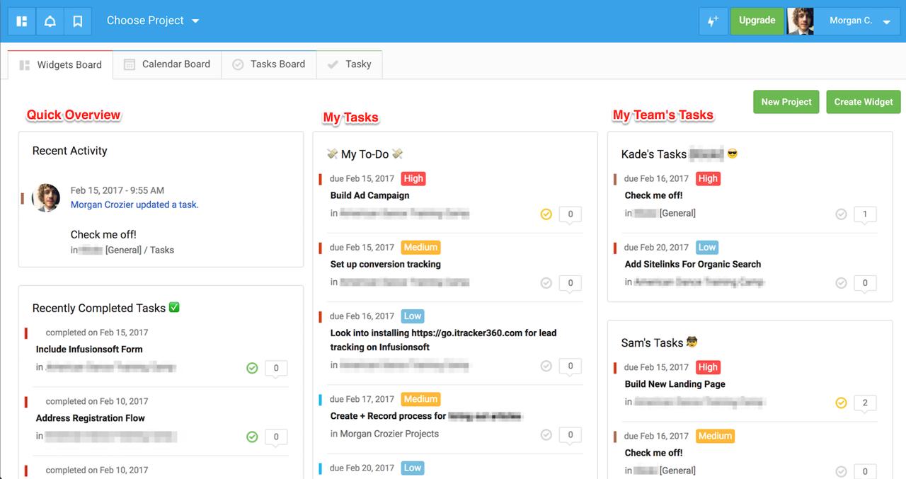 freedcamp dashboard widgets